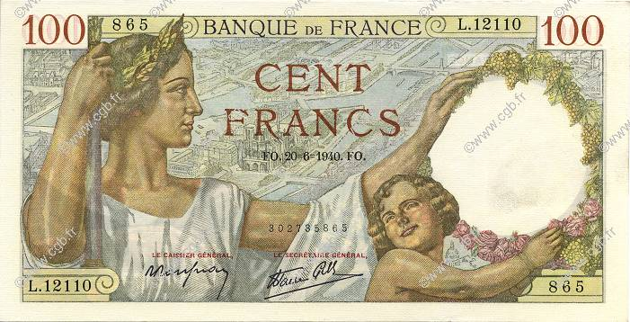 100 Francs SULLY  FRANCE  1940 F.26.32 UNC-
