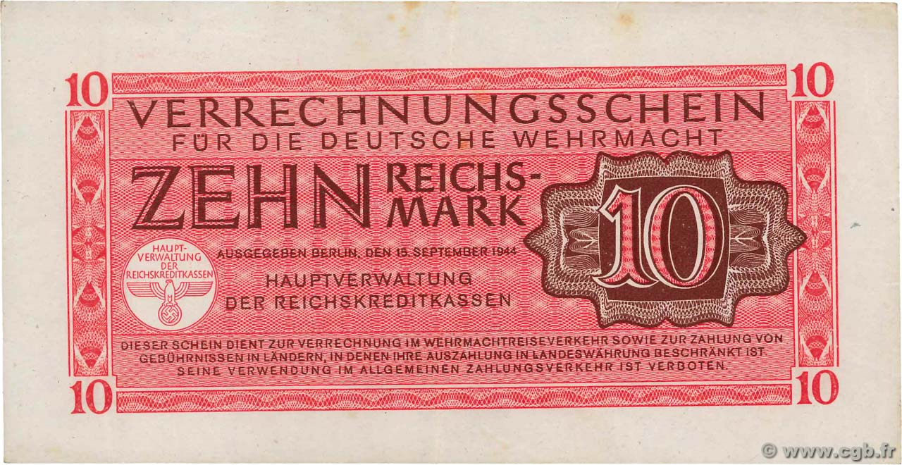 10 Reichsmark  GERMANY  1942 P.M40 VF+
