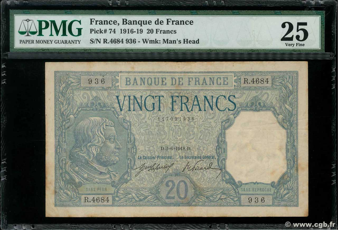 20 Francs BAYARD  FRANCE  1918 F.11.03 VF