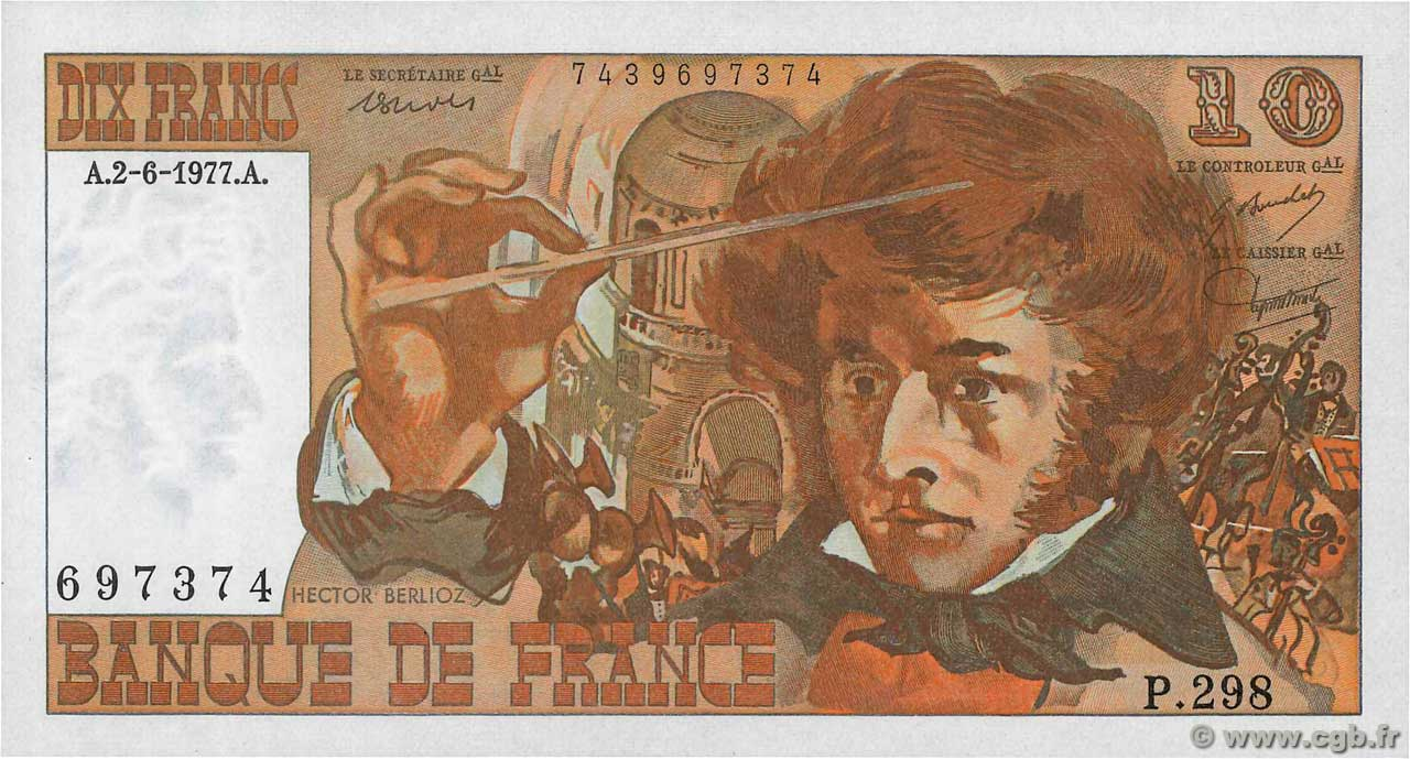 10 Francs BERLIOZ  FRANCE  1977 F.63.22 UNC