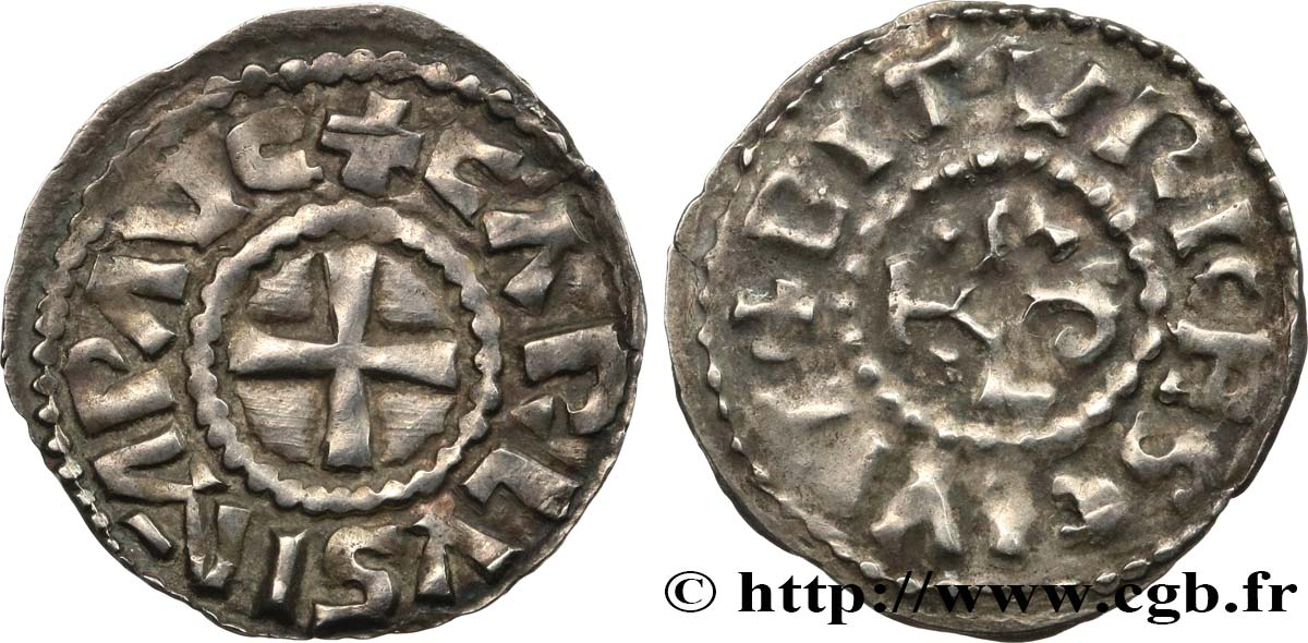 AQUITAINE - BOURGES - COINAGE IMMOBILIZED IN THE NAME OF CHARLES THE BALD EMPEROR Denier XF