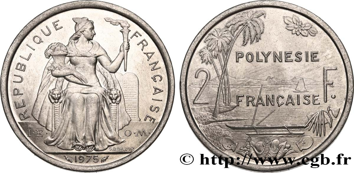 FRENCH POLYNESIA 2 Francs I.E.O.M. 1975 Paris MS