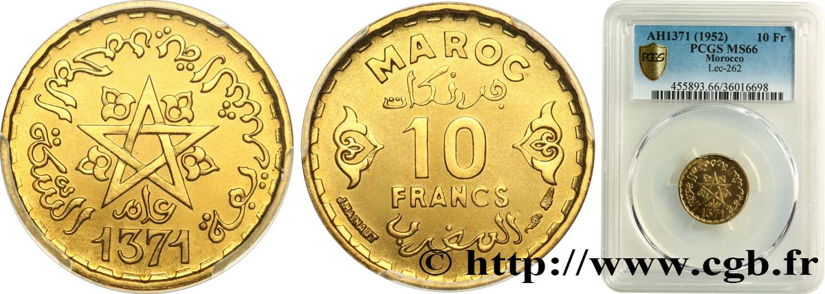 MOROCCO - FRENCH PROTECTORATE 10 Francs AH 1371 1952 Paris MS66 PCGS