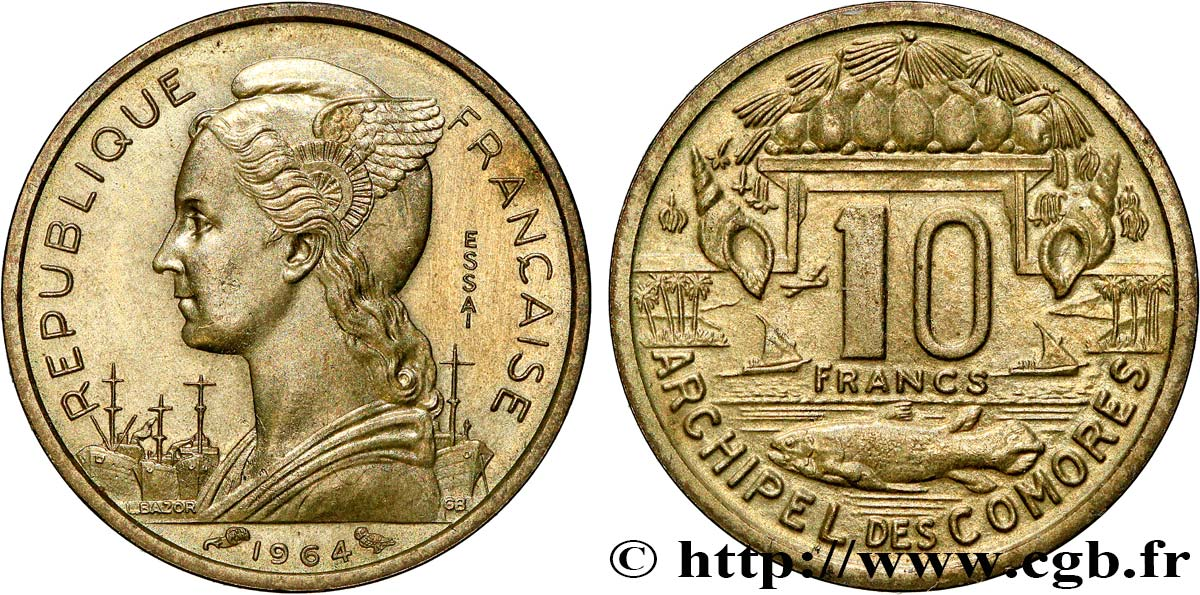 COMOROS  Essai de 10 Francs 1964 Paris MS