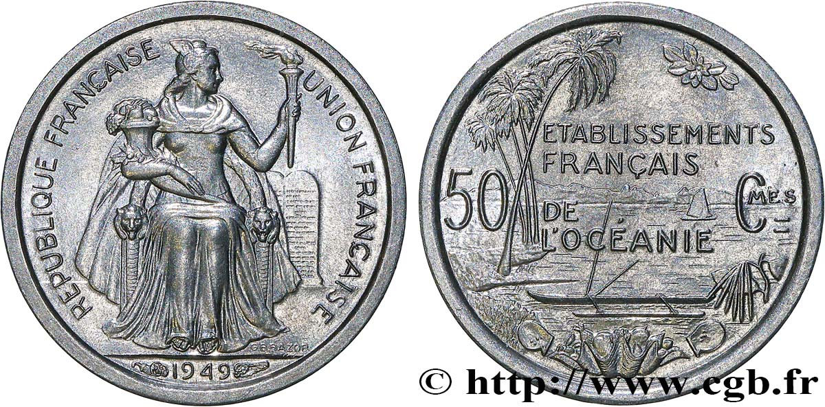 FRENCH POLYNESIA - French Oceania 50 Centimes Établissements Français de l'Océanie 1949 Paris MS
