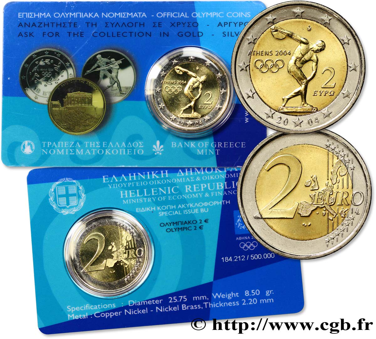GREECE Coin-Card 2 Euro JEUX OLYMPIQUES D ATHÈNES 2004 2004 Brilliant Uncirculated