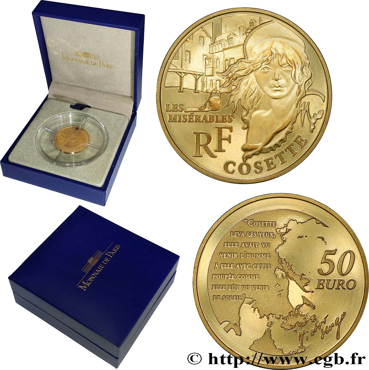 FRANCE Belle Épreuve 50 Euro or COSETTE (1/4 once) 2011 Proof set