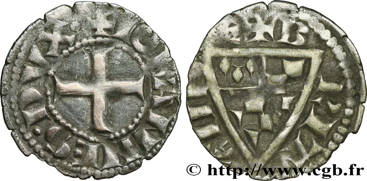 BRITTANY - DUCHY OF BRITTANY - JOHN I THE REDHEAD Denier VF
