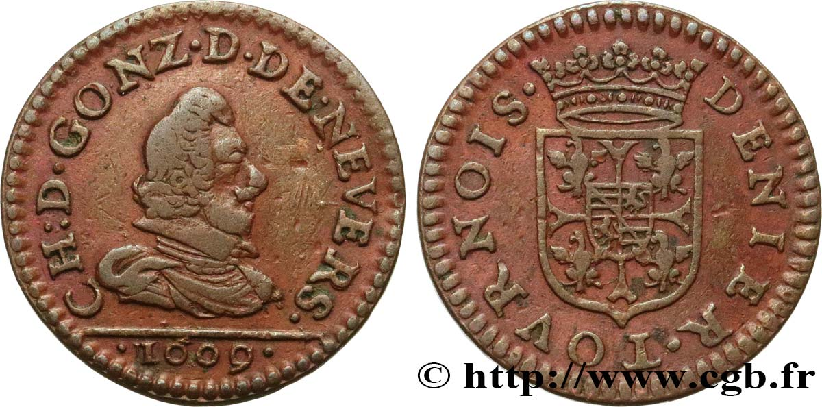 ARDENNES - PRINCIPAUTY OF ARCHES-CHARLEVILLE - CHARLES I OF GONZAGUE Denier tournois XF/AU