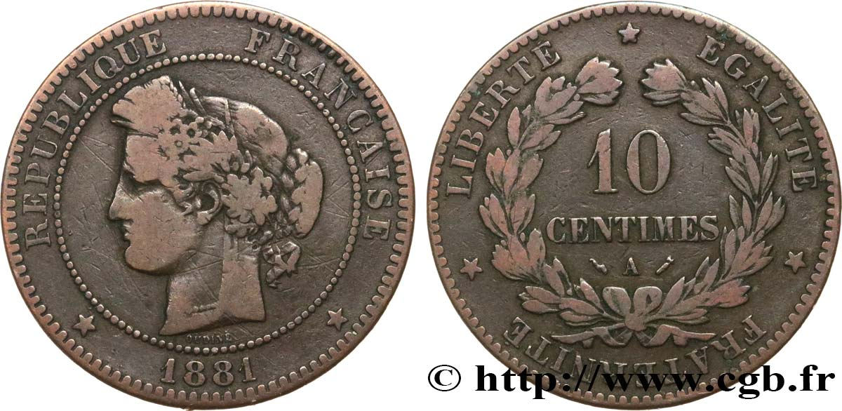 10 centimes Cérès 1881 Paris F.135/25 MB15