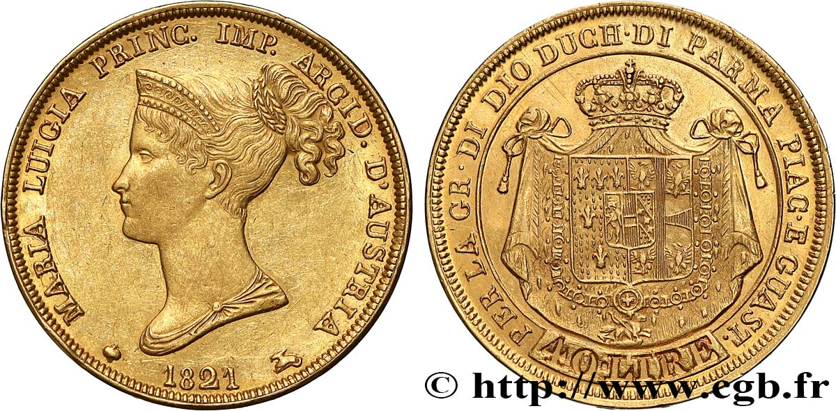 ITALY - DUCHY OF PARMA DE PIACENZA AND GUASTALLA - MARIE-LOUISE OF AUSTRIA 40 Lire 1821 Milan AU/MS