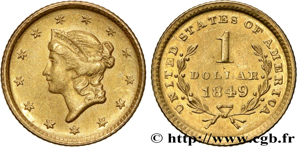 UNITED STATES OF AMERICA 1 Dollar Or  Liberty head , 1er type 1849 Philadelphie AU