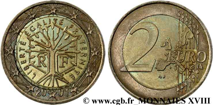 "EUROPEAN CENTRAL BANK 2 euro France, ""métaux inversés"" 2001 SPL"