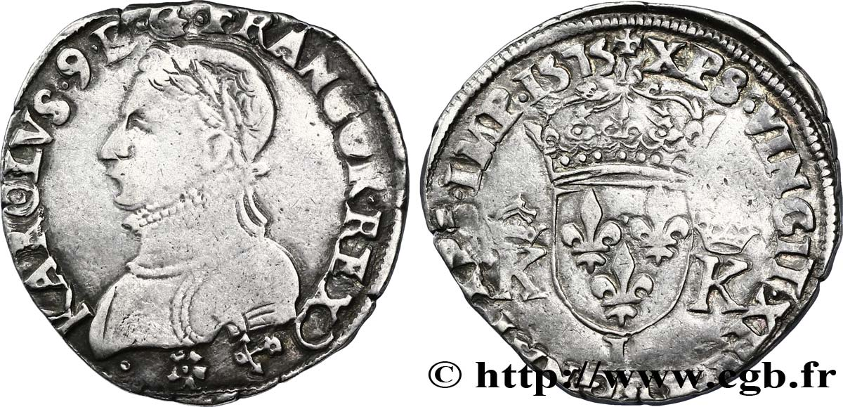 HENRY III. COINAGE AT THE NAME OF CHARLES IX Teston, 4e type 1575 Bayonne BB