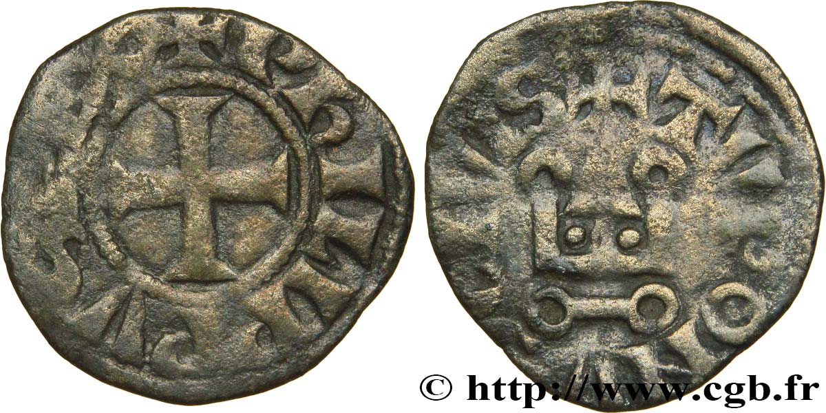 PHILIP III  THE BOLD  AND PHILIP IV  THE FAIR  Obole tournois à l O rond n.d.  VF