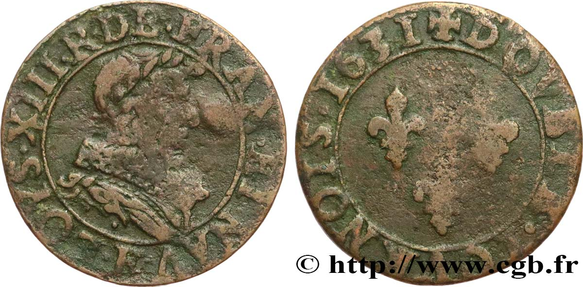 LOUIS XIII Double tournois, type 1 de Tours 1631 Tours VF