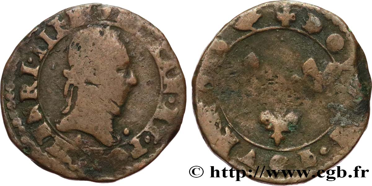THE LEAGUE. COINAGE IN THE NAME OF HENRY III Double tournois n.d. Paris VF