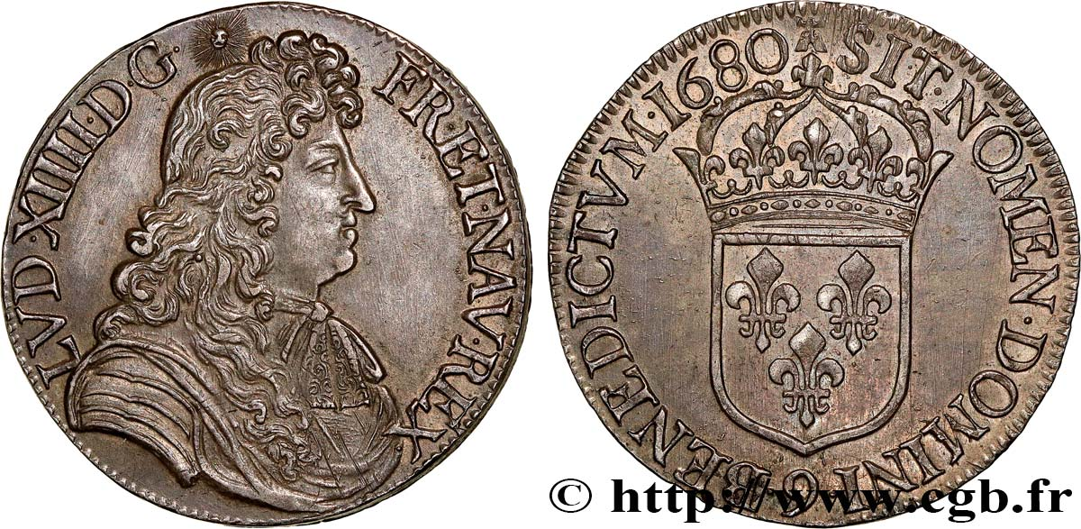 LOUIS XIV  THE SUN KING  Écu à la cravate, 1er type 1680 Rennes VZ