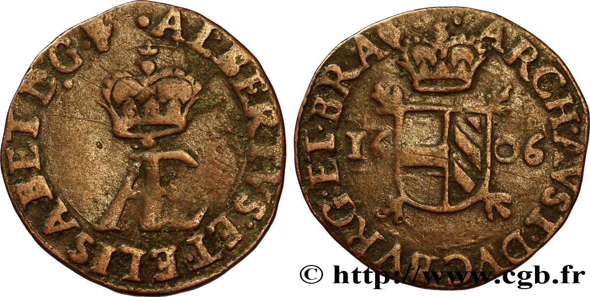 SPANISH NETHERLANDS - BRABANT - DUCHY OF BRABANT - ALBERT AND ISABELLA Double denier 1606 Anvers XF