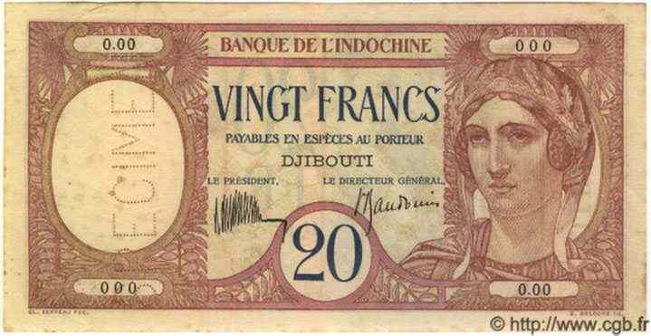 20 Francs DJIBOUTI  1936 P.07as SUP
