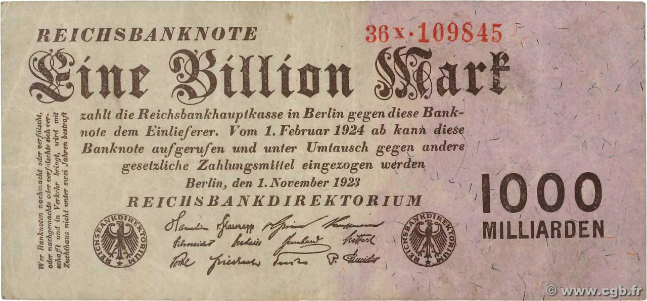 1 Billion Mark  ALLEMAGNE  1923 P.129 TTB