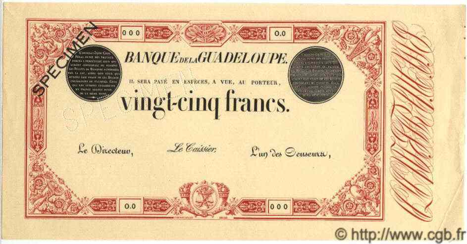25 Francs rouge GUADELOUPE  1874 P.08s SPL