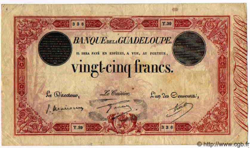25 Francs Type 1874 GUADELOUPE  1934 P.08