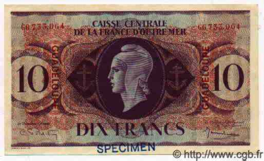 10 Francs GUADELOUPE  1943 P.27s sup+