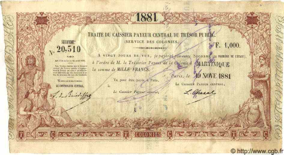 1000 Francs MARTINIQUE  1881 P.-- TTB