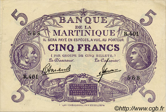 5 Francs  Cabasson  violet  MARTINIQUE  1945 P.06 SUP