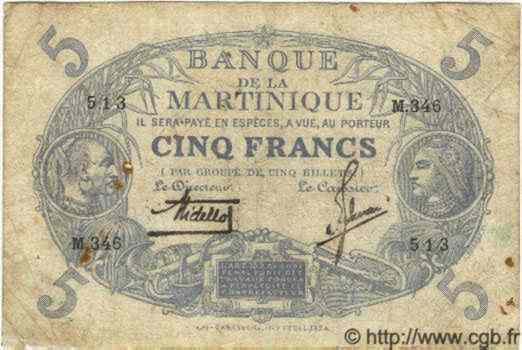 5 Francs  Cabasson  bleu  MARTINIQUE  1934 P.--(06B) B+