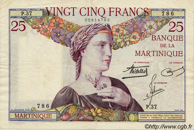 25 Francs MARTINIQUE  1938 P.12 TTB
