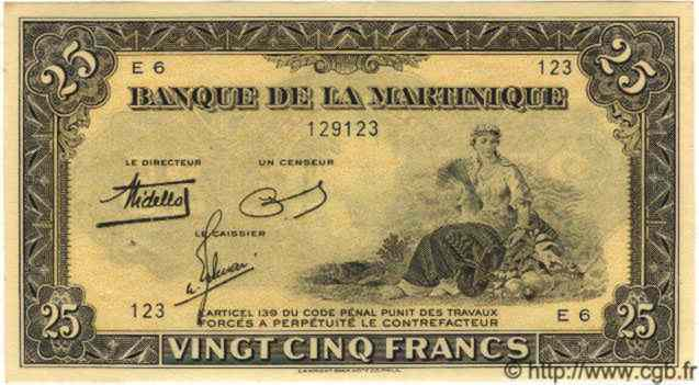 25 Francs Type 1942 MARTINIQUE  1942 P.17 SPL