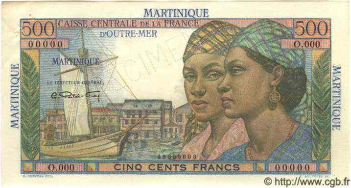 500 Francs  pointe-a-pitre  MARTINIQUE  1949 P.32s SUP+