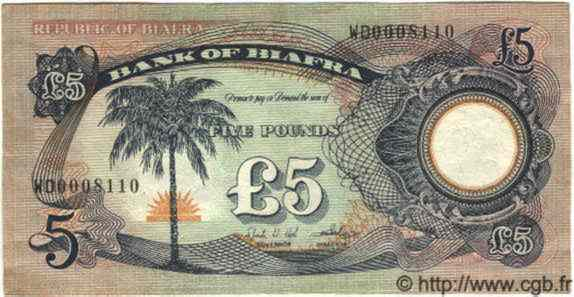 5 Pounds BIAFRA  1968 P.06a TTB