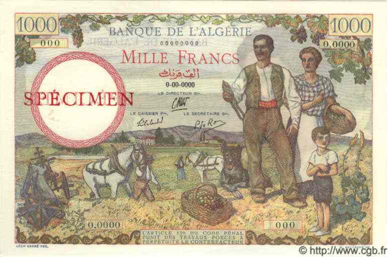 1000 Francs ALGÉRIE  1939 P.030as