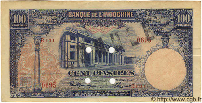 100 Piastres INDOCHINE FRANÇAISE  1945 P.079as SUP+
