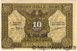 10 Cents INDOCHINE FRANÇAISE  1939 P.089 NEUF