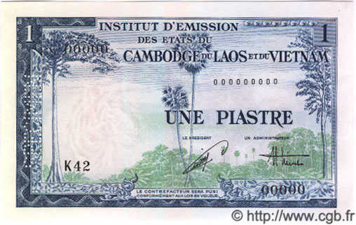 1 Piastre / 1 Dong INDOCHINE FRANÇAISE  1954 P.105s NEUF