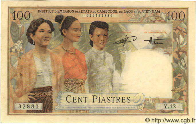 100 Piastres / 100 Dong INDOCHINE FRANÇAISE  1954 P.108 SUP