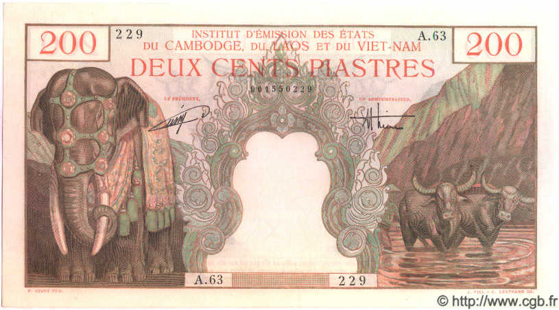 200 Piastres / 200 Dong INDOCHINE FRANÇAISE  1954 P.109 SPL