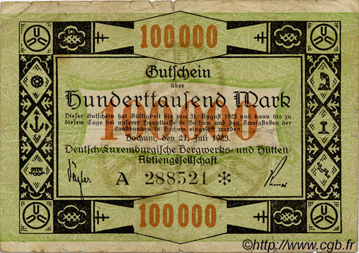 100000 Marks LUXEMBOURG Bochum 1923 P.-- TB+