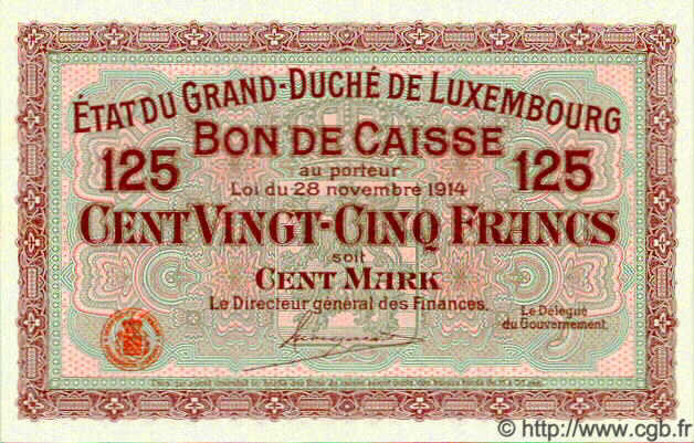 125 Francs /  100 Marks LUXEMBOURG  1914 P.25 NEUF