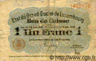 1 Franc  LUXEMBOURG  1919 P.27 B+