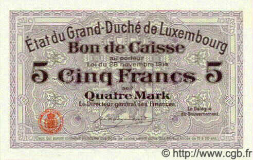 5 Francs  LUXEMBOURG  1919 P.29a NEUF