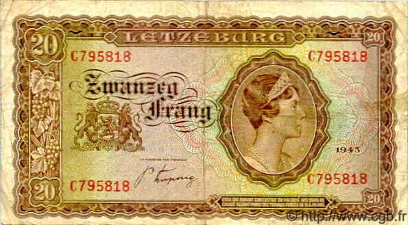 20 Francs LUXEMBOURG  1943 P.42 TB