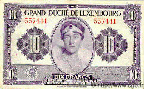 10 Francs LUXEMBOURG  1944 P.44 SUP