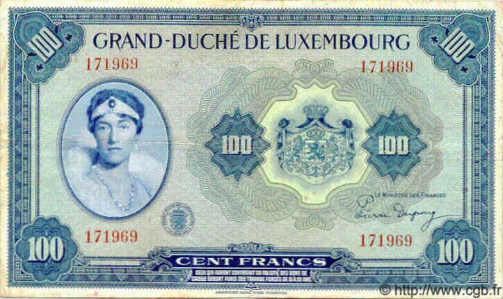 100 Francs LUXEMBOURG  1944 P.47 TTB