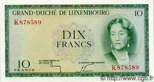 10 Francs  LUXEMBOURG  1954 P.48 NEUF
