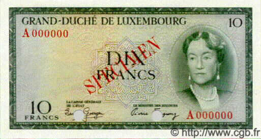 10 Francs LUXEMBOURG  1954 P.48s NEUF